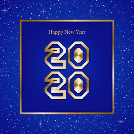 New year greetings for year 2020 with bright blue background with glowing stars with gold lights with number in the golden ribbon frame and blue square