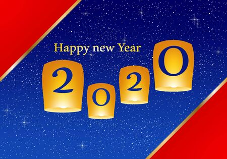 New year greetings for year 2020 with bright red background and blue strip, yellow lights and flying chinese lucky lanterns with clematis, gold ribbon with glowing stars with yellow lights with number