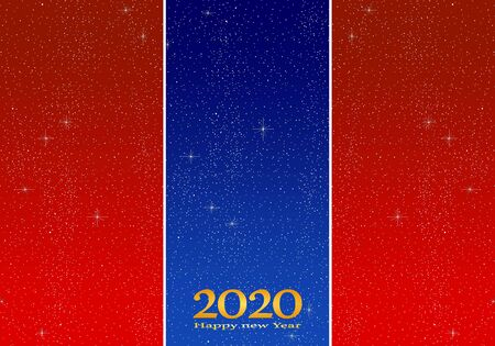New year greetings for year 2020 with bright red background and blue strip with glowing stars with yellow lights with number