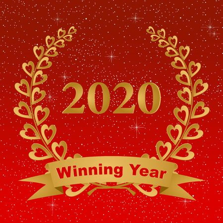 New year greeting card with gold laurel wreath composed of two branches with colorful hearts and stems with a gold ribbon for the 2020 year on a red background with stars