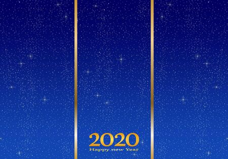 New year greetings for year 2020 with bright blue background with glowing stars with yellow lights with number Stock Illustratie