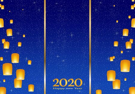 New year greetings for year 2020 with bright blue background with glowing stars with yellow lights and flying chinese lucky lanterns with clematis with number