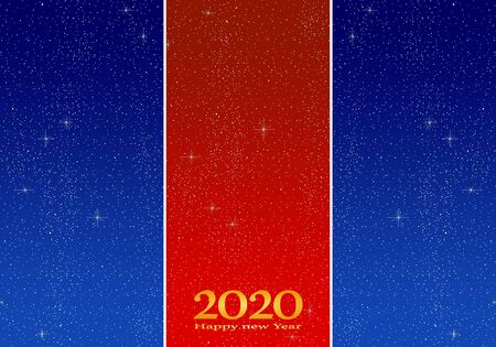 New year greetings for year 2020 with bright blue background, gold ribbon and red strip with glowing stars with yellow lights with number
