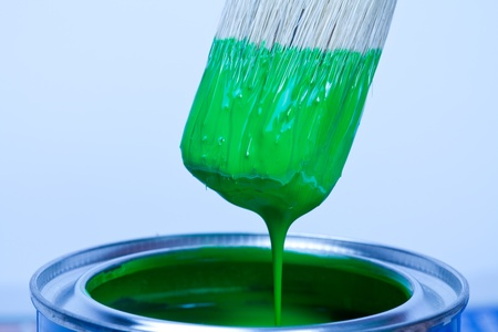 paint can: Green paint can and brush