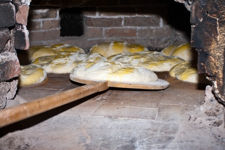 Bread in oven photo
