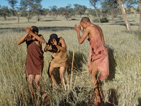 Katsan, Namibia - April 26: Unrecognised  bushmen is hunt in the Katsan place on April 26, 2008, Namibia Editorial