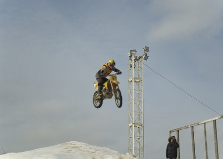 MOSCOW - FEBRUARY 28: Unrecognised sportsman on a second tour of motocross of Red Racing Group club on February 28, 2010 in Moscow, Krilatskoe, Russia