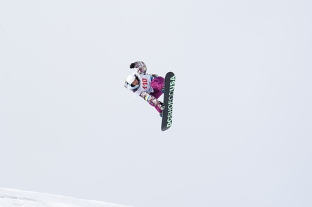 RUSSIA, MOSCOW - FEBRUARY 28: The championship of Russia on a snowboard in New-peredelkino, Moscow. Training of sportsmen. Photo taken on: February 28th, 2010