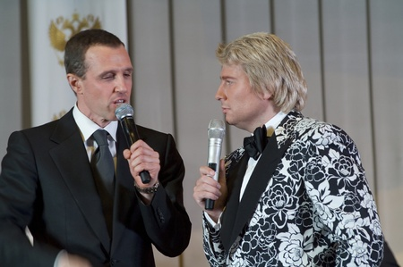 nikolay: MOSCOW - MARCH 5: Russian singer Nikolay Baskov and actor Igor Vernik on a concert dedicated to the International Womens Day at Supreme Court of Russian Federation on March 5, 2011 in Moscow, Russia