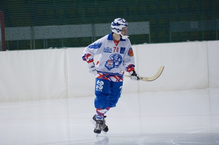 bandy: Moscow, March 19, 2010 : Mohov Mikhail, defender of bandy (Russian hockey) team Rodina Kirov on a  play of Championship of Russia Editorial