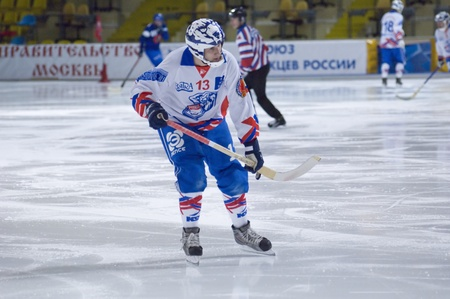 Moscow, March 19, 2010 : Lanskih Alexei, defender of bandy (Russian hockey) team Rodina Kirov on a  play of Championship of Russia