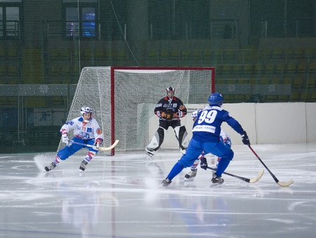 bandy: RUSSIA, MOSCOW - MARCH 19 : Mohov Mikhail (defender), Shulyaev Mikhail (goalkeeper), Obukhov Sergey (forvard), Dobrinin Mikhail (defender) on a  play of Championship of Russia, 2010