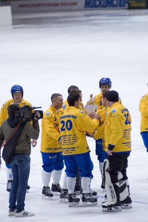 bandy: MOSCOW - MARCH 30: The champion of Russia on bandy Dynamo-Moscow at ceremony of rewarding on March 30, 2010 in Moscow, Russia