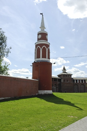 Partly reconstructed brick wall and tower of old fortress in Kolomna town near Moscow, Russia photo