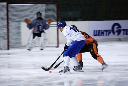 Moscow, March 30, 2010 : Bandy (Russian hockey) team Kuzbas  on a semifinal play Championship of Russia. Champion of Russia of the year 2010