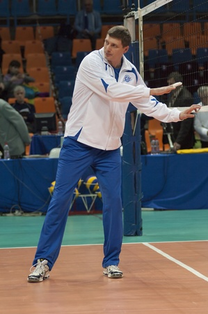 gusev: MOSCOW, RUSSIA - DECEMBER 14 : Gusev Alexander, coach of volleyball team Dinamo Russiaon a European League woman