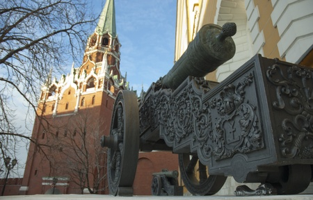 Row of old cannons near Arsenal. Kremlin. Moscow. Russia
