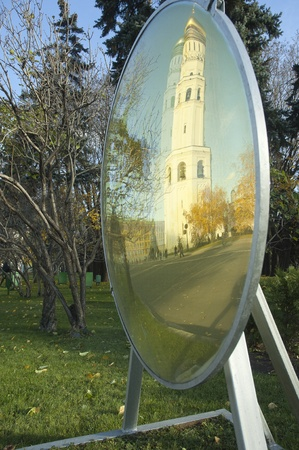 Archangel Cathedral and Ivan the Great Bell in mirror in the Moscow Kremlin. Moscow. Russia photo
