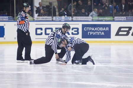 MOSCOW - JANUARY 31 : Unidentified referees on hockey match