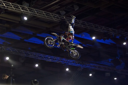 MOSCOW, RUSSIA - FEBRUARY 11: Unidentified motorbike rider at festival of Extremals sports at Lugniki on February 11, 2012 in Moscow, Russia