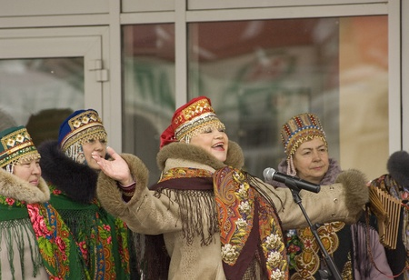 sudarium: PODOLSK, RUSSIA - FEB 26: Unidentified people celebrating Russian religious and folk holiday Maslenitsa on a square in Podolsk city on February 26, 2012, Podolsk, Russia