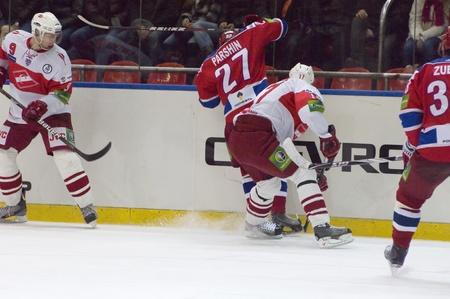 MOSCOW - JANUARY 31   Hockey match  Spartak - CSKA   in sports palace  CSKA  on January 31, 2012 in Moscow, Russia Stock Photo - 12848485