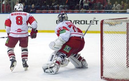 spartak: MOSCOW - JANUARY 31   Hockey match  Spartak - CSKA   in sports palace  CSKA  on January 31, 2012 in Moscow, Russia
