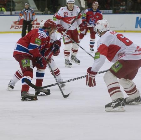 MOSCOW - JANUARY 31   Hockey match  Spartak - CSKA   in sports palace  CSKA  on January 31, 2012 in Moscow, Russia Stock Photo - 12848463