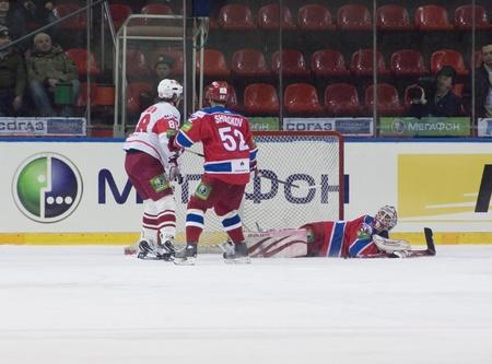MOSCOW - JANUARY 31   Hockey match  Spartak - CSKA   in sports palace  CSKA  on January 31, 2012 in Moscow, Russia Stock Photo - 12848465