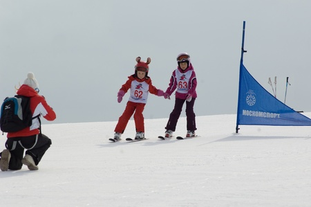 MOSCOW, RUSSIA - MARCH 31: Prudnikova K(62) and Rozanova R(63) at closing winter season conpetition on March 31, 2012 in Peredelkino,Moscow, Russia Stock Photo - 13047124