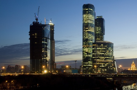 Moscow City skyscrapers at night photo