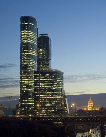 Moscow City skyscrapers at night Stock Photo - 13072500