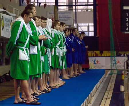 MOSCOW - APRIL  6  Players of Sintez team before a game Dynamo white  vs Sintez  green  of waterpolo Championship of Russia on April 6, 2012 Moscow, Russia  Sintez won 13 10 Stock Photo - 13072518