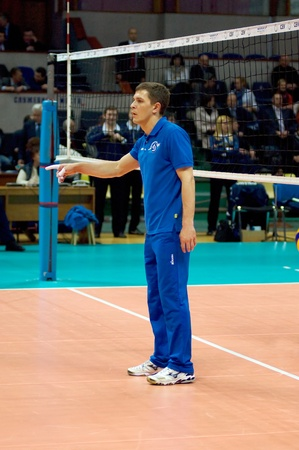 MOSCOW, RUSSIA - APRIL 12  S  Ovchinnikov, coach of  Dynamo MSC  just before women Stock Photo - 13161838