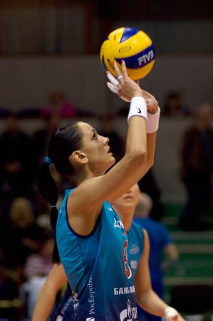 MOSCOW, RUSSIA - APRIL 12  N  Goncharova Dynamo MSC  takes a ball on women