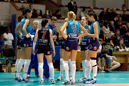 MOSCOW, RUSSIA - APRIL 12  S  Ovchinnikov, coach with team Dynamo MSC  on timeout on women Editorial