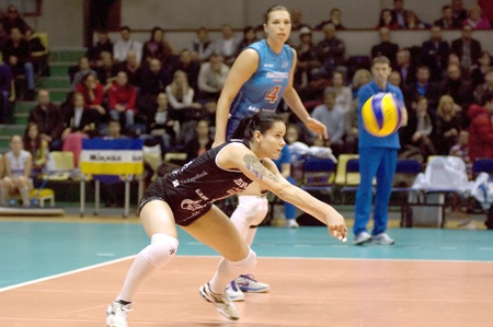 MOSCOW, RUSSIA - APRIL 12  S  Kryuchkova Dynamo MSC  takes a ball on women