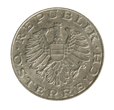 Old Austrian 10 Schilling coins on white background  Osterreich republic Stock Photo - 13294351