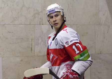 MOSCOW - JANUARY 31   Forward of Spartak Voronin Artem  just before game on hockey match  Spartak - CSKA   in sports palace  CSKA  on January 31, 2012 in Moscow, Russia Editorial