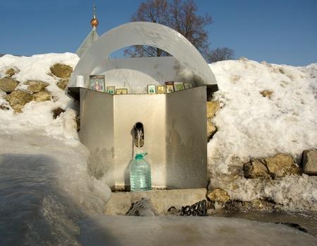 sacred source: Oznobishino village  Sacred source  with healing water  Podolsk region  Russia