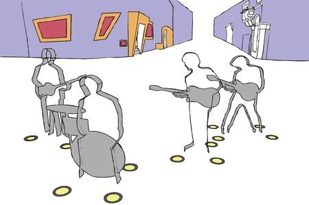 john: Beatles square in Hamburg  image Illustration