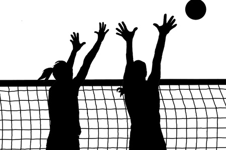 volleyball two women and ball silhouette Vector