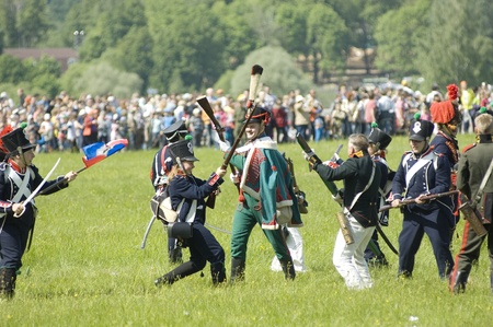 MOSCOW REGION, RUSSIA - MAY 27  Unidentified soldiers fights during 200 unniversary re-enactment of the Borodino battle in 1812  May 27, 2012 in Borodino, Russia Stock Photo - 13861323