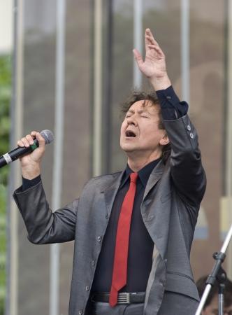 S  PETERSBURG - JUNE 11  Singer Albert Asadullin on memoriam concert of M  Magomaev  Thank you  on June 11, 2012 in S  Petersburg, Russia