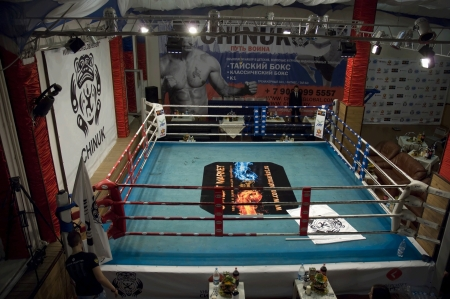 MOSCOW - SEPTEMBER 21  Thai boxing fight club Osminog just before clubs International  tournament on September 21, 2012  Moscow, Russia