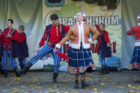 PODOLSK - OCTOBER 7  Russian folk ansamble of dance Rainbow dance  on event of day of Podolsk on October 7, 2012, Podolsk, Russia