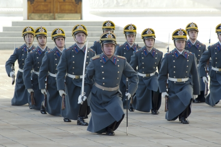 MOSCOW - OCTOBER 27  Unidentified guards of President Putin squad on parade of change on October 27, 2012, in Moscow, Russia