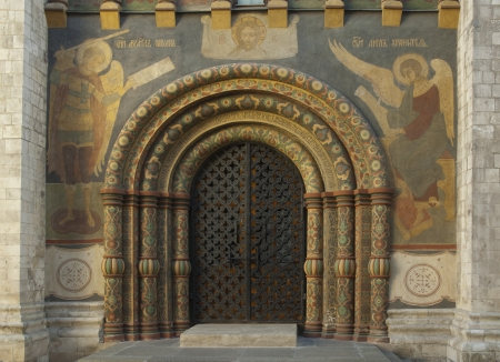 Door of a church with ornament on it