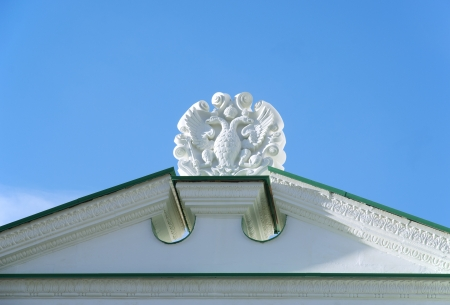 sceptre: Russian Coat of Arms on a building roof at the  Moscow Kremlin Stock Photo