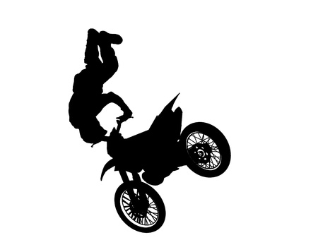motorised: Silhouette of a stunt rider doing a trick on his motorbike  Illustration